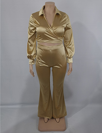 Fashion Gold Color Two-piece Plus Size V-neck Blouse And Trousers
