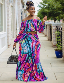 Fashion Color Two-piece Long-sleeved Top And Half-length Skirt