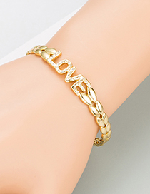 Fashion Gold Color Love English Alphabet Copper Micro-inlaid Zircon Bracelet
