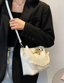 Fashion Creamy-white Solid Color Large Capacity Messenger Bag