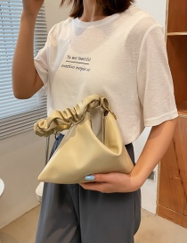 Fashion Beige Folded Hand Clutch Shoulder Bag