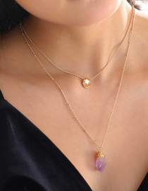 Fashion Gold Color Tag Light Purple Crystal Multilayer Necklace