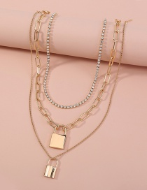 Fashion Gold Color Chain Multi-layer Gold Lock Necklace