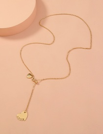 Fashion Gold Color Metal Love Necklace