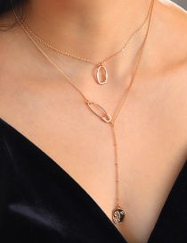 Fashion Gold Color Ring Pin Beauty Face Multilayer Necklace