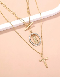 Fashion Gold Color Diamond Round Character Cross Necklace