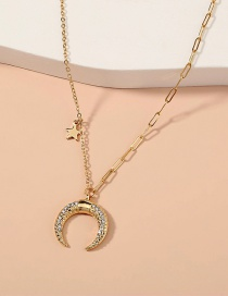 Fashion Gold Color Diamond Star Moon Necklace