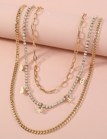 Fashion Gold Color Butterfly Diamond Multilayer Necklace