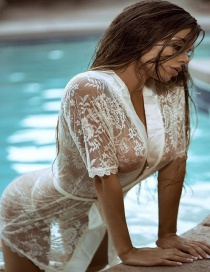 Fashion White Lace Cardigan See-through Pajamas
