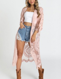 Fashion Pink Lace Cardigan Sun Protection Clothing
