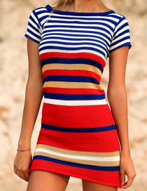 Fashion Red And Blue Bars Black And White Striped Knitted Sun Protection Clothing