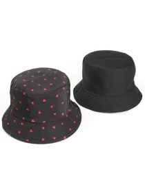 Fashion Black Love Print Double-sided Sunscreen Fisherman Hat