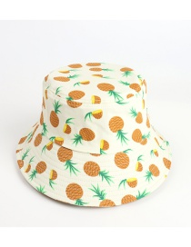 Fashion Beige Big Eaves Pineapple Print Fruit Fisherman Hat