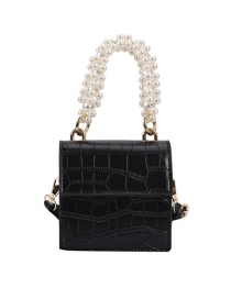 Fashion Black Pearl Handheld Stone Pattern Diagonal Bag