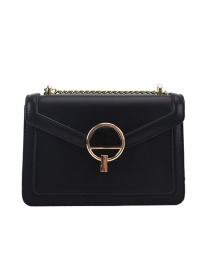 Fashion Black Chain Lock Shoulder Messenger Bag