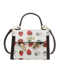 Fashion Strawberry Printed Contrast Color One-shoulder Portable Messenger Bag