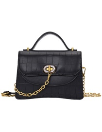 Fashion Black Stone Pattern Lock Chain Shoulder Bag