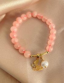 Fashion Pink Pearl And Diamond Opal Butterfly Bracelet