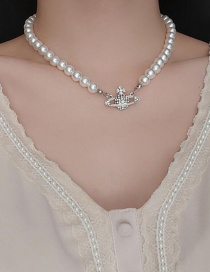 Fashion White Pearl Pearl And Diamond Planet Necklace