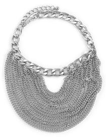 Fashion Silver Color Multilayer Tassel Metal Chain Anklet