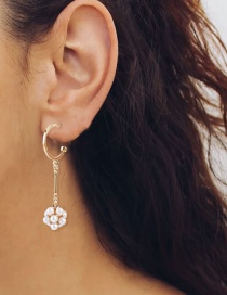 Fashion Gold Color Pearl Flower C-shaped Stud Earrings