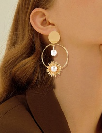 Fashion Gold Color Alloy Sunflower Inlaid Pearl Earrings