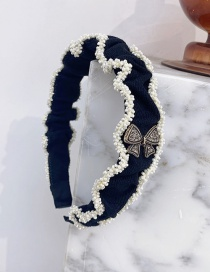 Fashion Black Folded Pearl Diamond Bow Headband