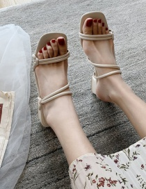 Fashion Creamy-white Thin With Square Toe Thick Heel Sandals And Slippers