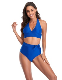 Fashion Blue High-waisted Bow-knot Solid Color Split Swimsuit