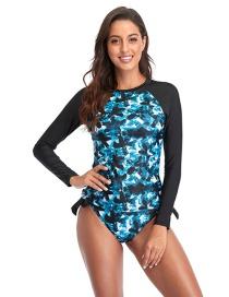 Fashion Blue Printed Long-sleeved Sunscreen Split Swimsuit