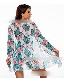Fashion Green Flower Single Yarn One Size Three-piece Mesh Swimsuit