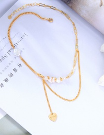 Fashion Golden Superimposed Love Necklace