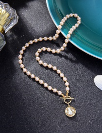Fashion White Pearl Pearl Pendant Ot Buckle Smiley Face Necklace