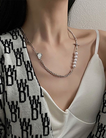 Fashion Silver Stitched Pearl Heart-shaped Choker Necklace