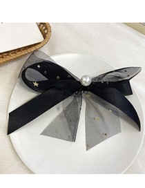 Fashion Black Pearl Lace Star Bow Hairpin Streamer