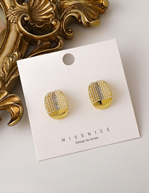 Fashion Golden Pearl Rhinestone Curved Stud Earrings
