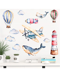 Fashion 25*70cmx2 Pieces Into The Bag Watercolor Airplane And Shark Wall Pvc Wallpaper