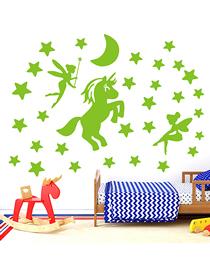 Fashion 20*30cm Luminous Unicorn Spreading Stars Wall Sticker