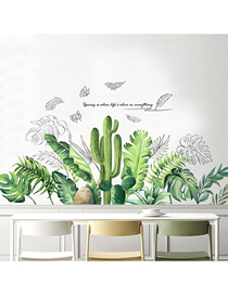 Fashion 43*58cmx2 Pieces In Bag Packaging Green Leaves Wall Sticker