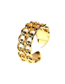 Fashion Golden Copper Plated Chain Double-layer Open Ring