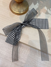 Fashion Houndstooth Net Red Same Style Houndstooth Bow Hairpin