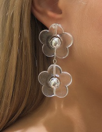 Fashion Transparent White Transparent Flower Earrings