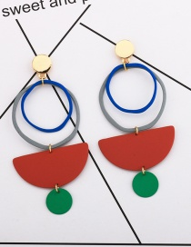 Fashion Red Paint Ring Earrings