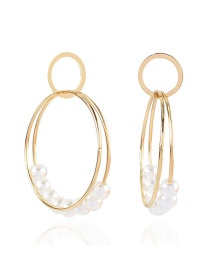 Fashion Golden Alloy Inlaid Pearl Geometric Earrings