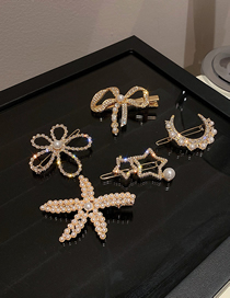 Fashion Golden Section 2 Five-piece Set Of Pearl And Diamond Hair Clips