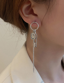 Fashion Silver Clock And Watch Medal Tassel Earrings
