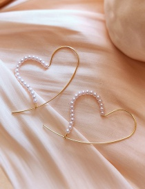 Fashion Gold Color Alloy Pearl Love Stud Earrings