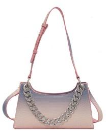 Fashion Pink Blue Stone Grain Rainbow Gradient Thick Chain Shoulder Bag