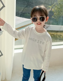 Fashion White Long-sleeved Solid Color Alphabet Children's T-shirt