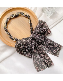 Fashion Black Floral Children's Woven Twisted Floral Pearl Headband